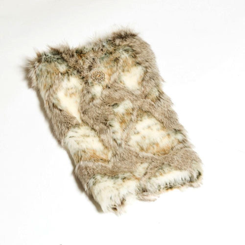 Huggrz Junior Womens Cream Beige Faux Rabbit Accessory Boot Wraps