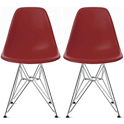 Attractive 2xhome Set Of Two (2) Red   Plastic Style Side Chair Chromed Wire Legs