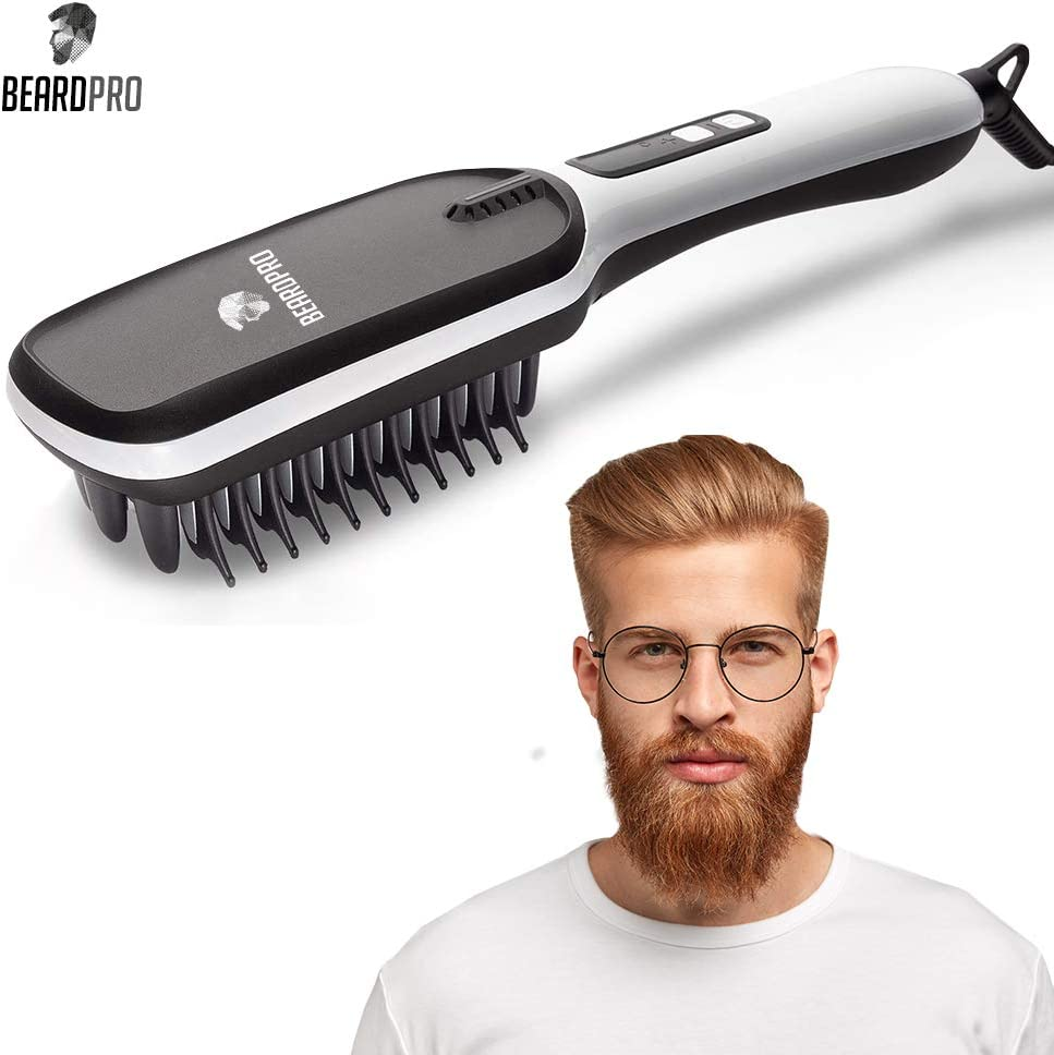BeardPro Beard Straightening Brush – Professional Grade Anti Frizz Ionic Wet Dry Hair Straightener with Ceramic Plate – Portable Heated Hairbrush Styling Tool for Men
