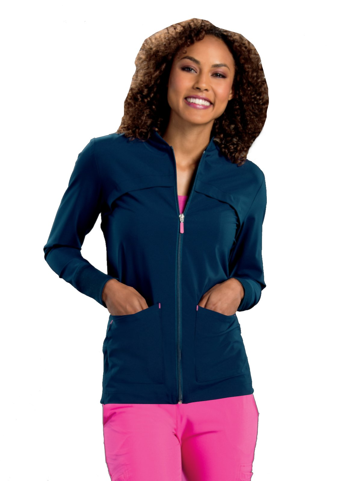 Smitten Miracle Women's Contemporary Fit Tour Zip-Front with Rib Detail Scrub Jacket Navvy M