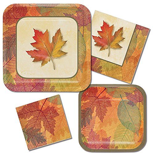 Paper Dessert Plates Harvest - Burnished Leaves Complete Party Supplies Bundle 4 pieces Banquet plates, dessert plates, lunch napkins, bev napkins Fall Leaves, Autumn theme Harvest Celebration, Halloween Thanksgiving Dinner