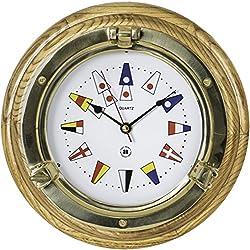 Bey-Berk International Brass Porthole Clock on Oak with Nautical Numbers - Tarnish Proof