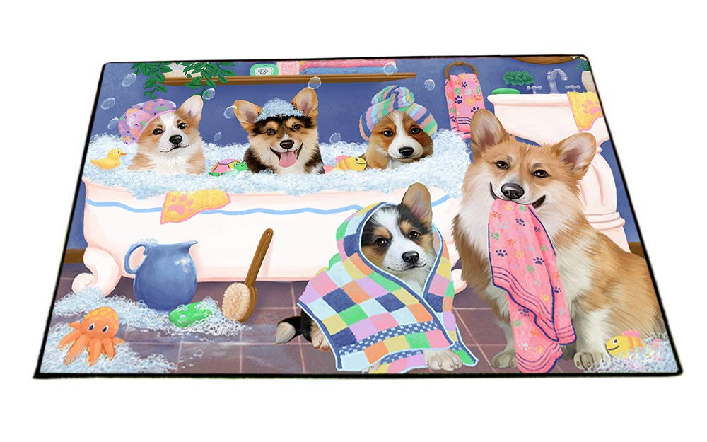 Rub A Dub Dogs In A Tub Corgis Dog Floormat FLMS53535 (24x36) by Doggie of the Day