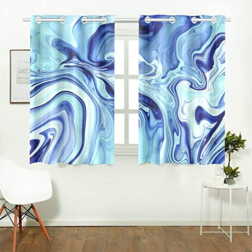 ENEVOTX Blue Marble Kitchen Curtains Window Curtain Tiers for Caf , Bath, Laundry, Living Room Bedroom 26 X 39 Inch 2 Pieces