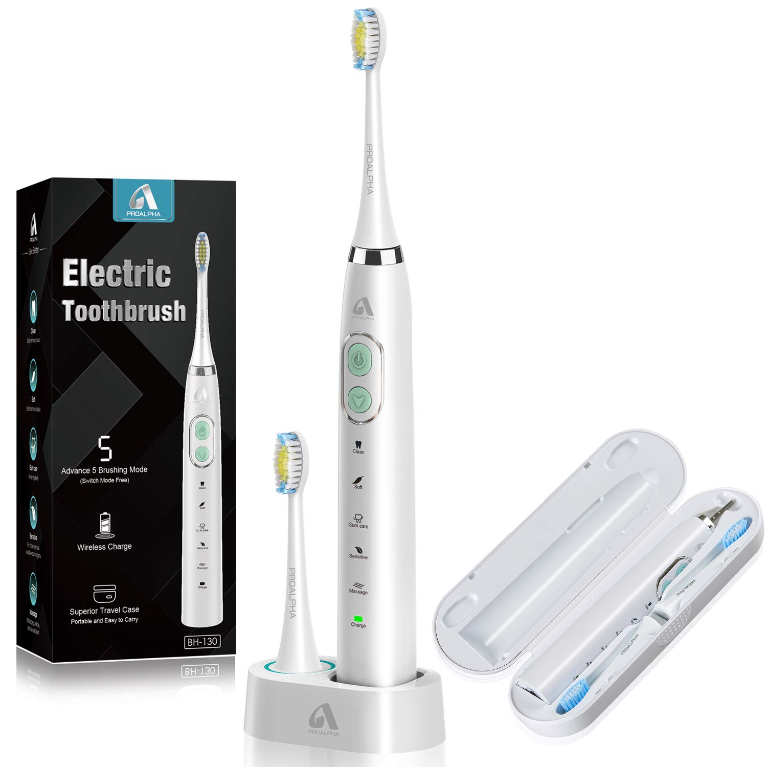 Proalpha Sonic Electric Toothbrush for Adults, 5 Optional Brushing Modes Rechargeable Toothbrushes with 6 Replacement Heads 2 Minutes Timer, Travel Case Included white