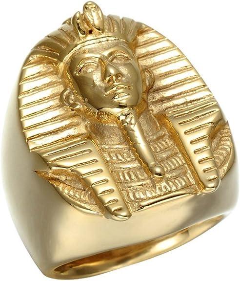 BOBIJOO JEWELRY - El Anillo De Sellar El Faraón del Antiguo Egipto Tutankamón Dorado De Oro Final El Hombre De Acero - 33 (15 US), Dorado - Acero Inoxidable 316: Amazon.es: Joyería