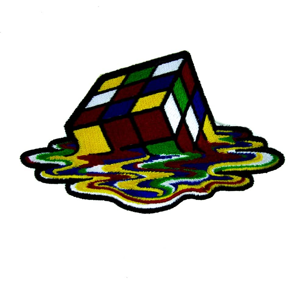 Melting Rubik's Cube Patch Iron on Applique Alternative Clothing