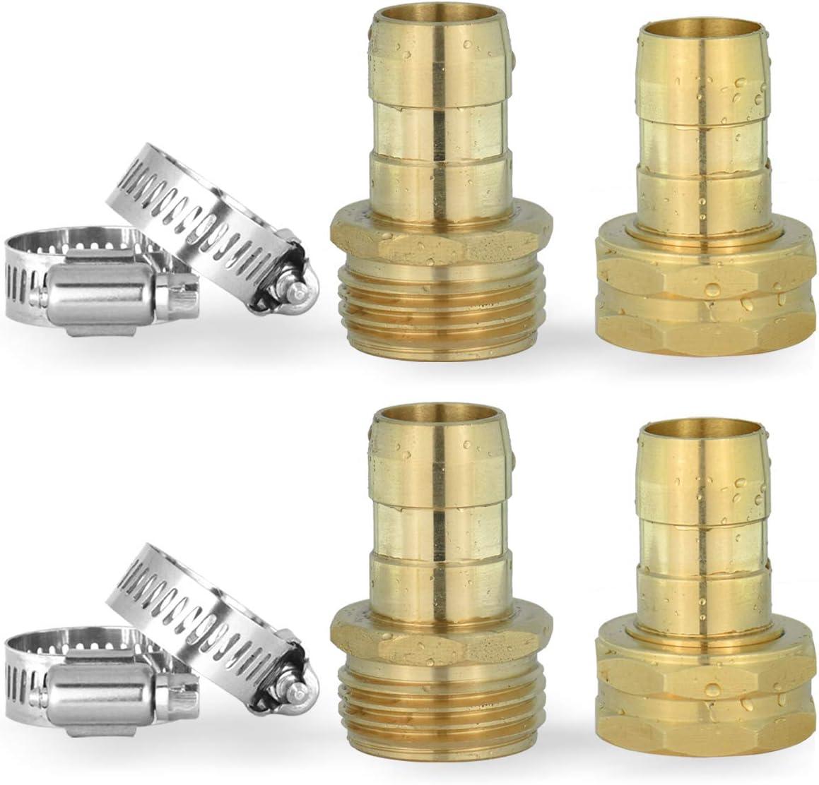 "PLG 5/8"" Solid Brass Garden Hose Repair Kit,Hose End Connector/Mender,2 Male+2 Female"