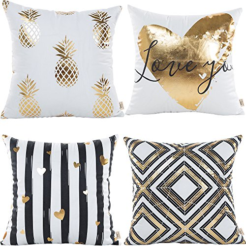 HOSL 4 Pack ZTTJ02 Gold Stamping Pattern Decorative Pillow Cover Case 18