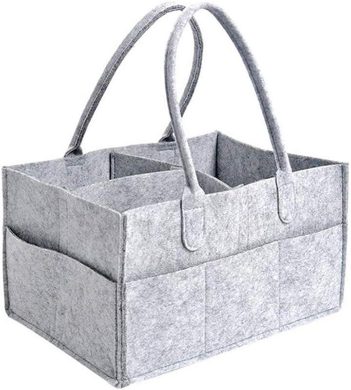 Kuizhiren1 Baby Diaper Caddy Organizer,Foldable Handheld Diaper Storage Bag Container Nursery Baby Sundries Organizer