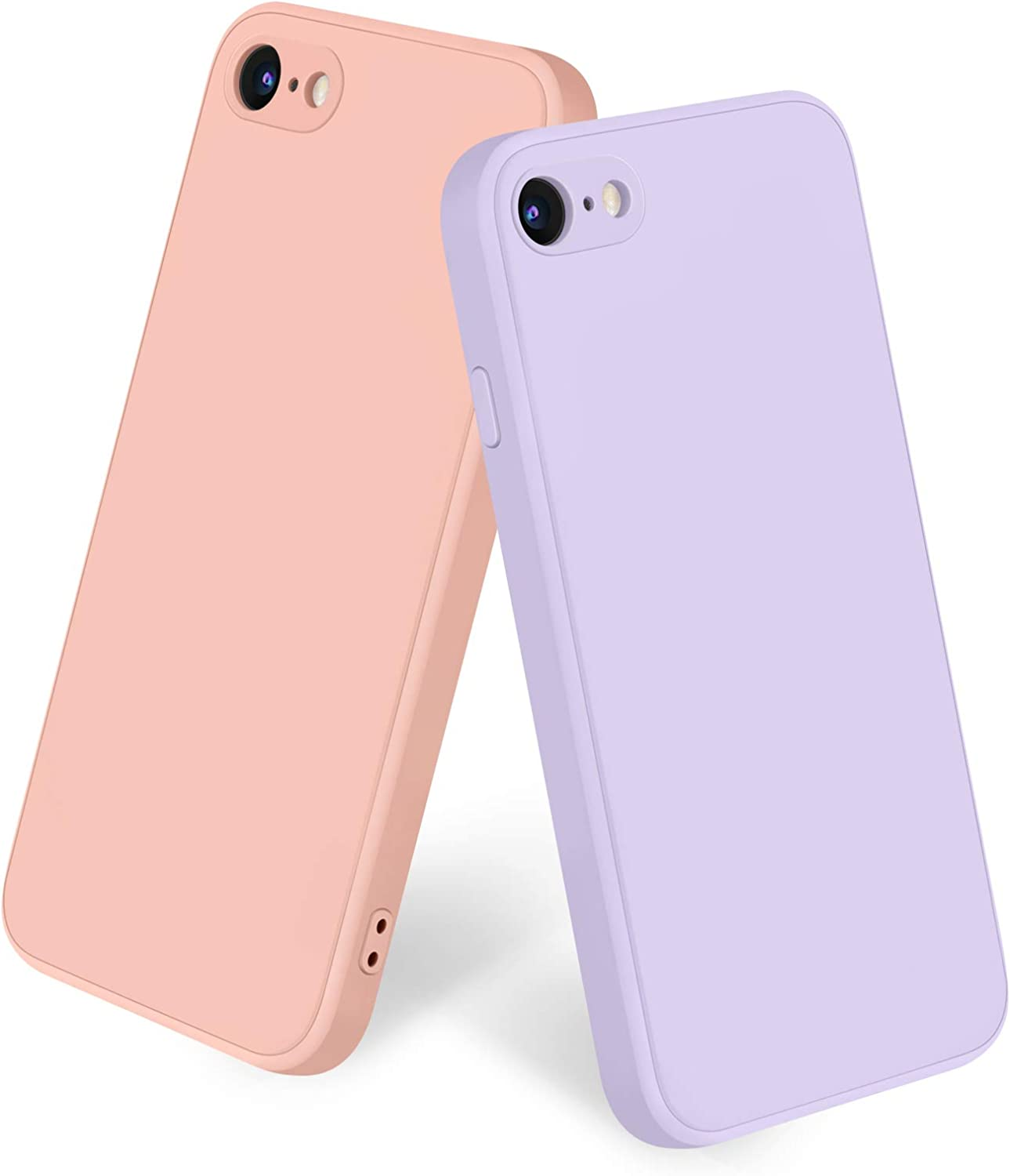 Amzpas [2 Pack] Compatible with iPhone SE 2020 Case, iPhone 8 7 Case Silicone Phone Case, Slim Shockproof Protective Cover Case with [Soft Microfiber Lining] (Pink + Grass Purple)