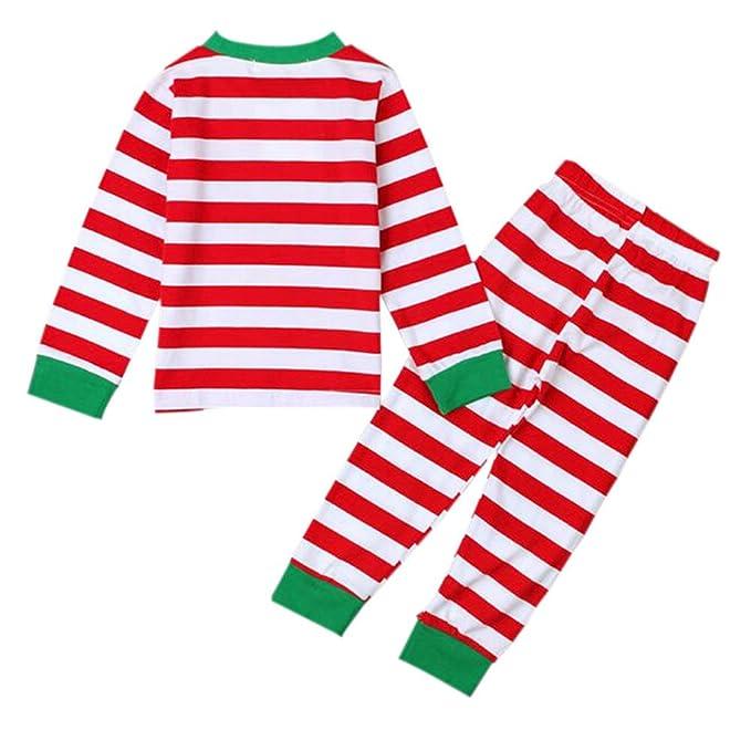Hzjundasi 2 Pcs A rayas Conjuntos de pijamas Navidad Algodón Chicos Chicas Ropa de dormir Manga larga Familia Sleepwear Para Niños: Amazon.es: Ropa y ...