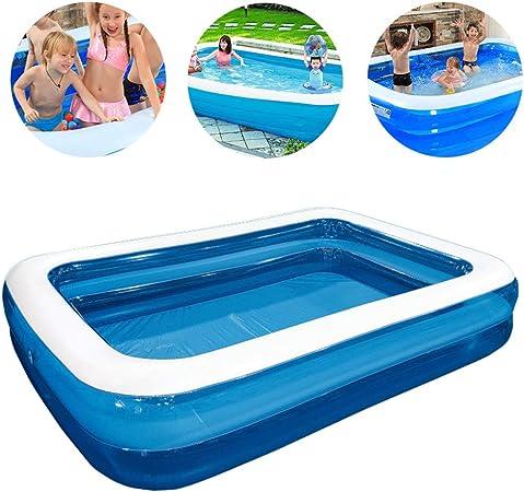 HAIHF - Piscinas hinchables para adultos y niños, grandes rectangulares, piscinas, salón, piscina, piscina, piscina, piscina, piscina, verano, jardín exterior, azul y blanco, 200 x 150 x 50 cm: Amazon.es: Hogar