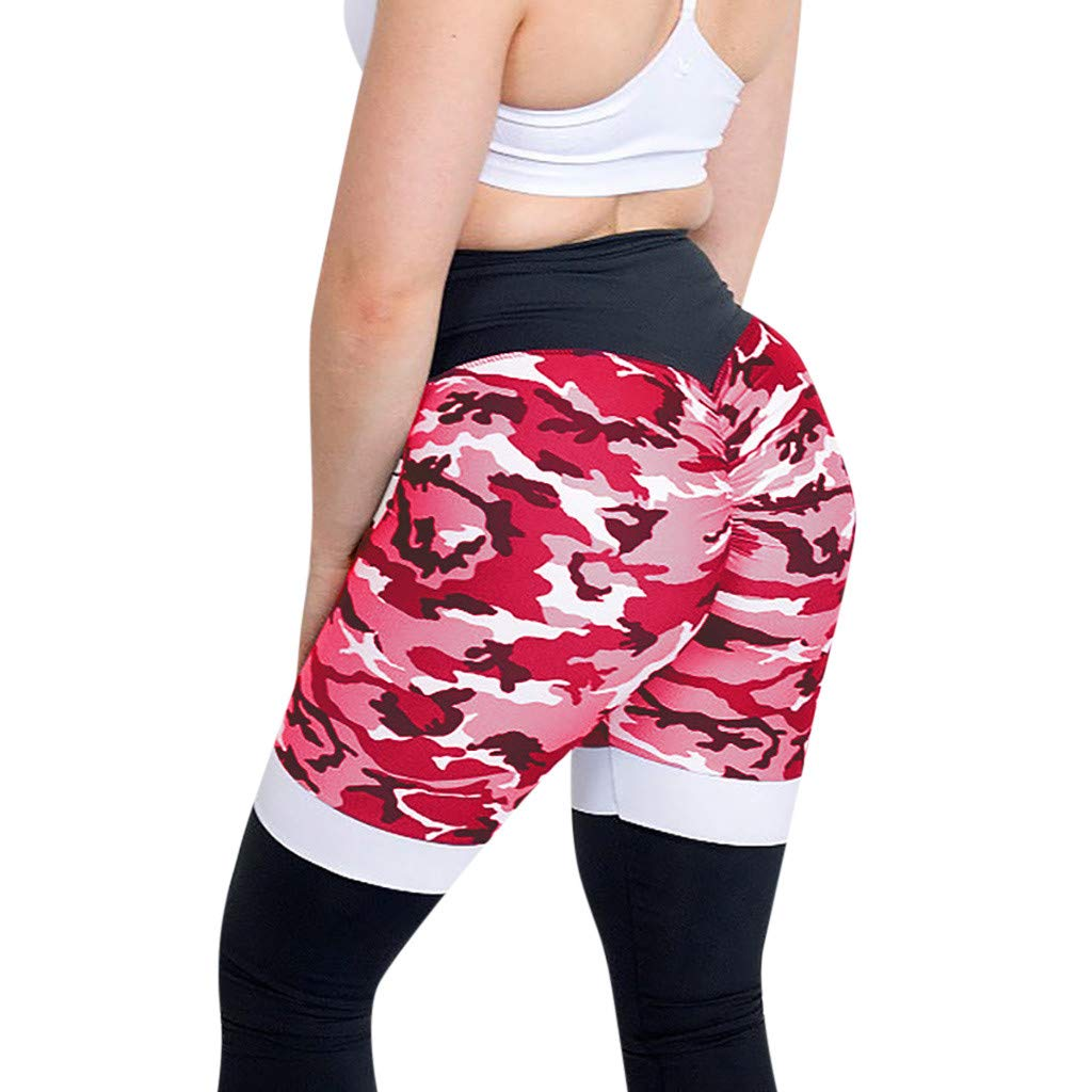 Ulanda_Women Leggings Camo Ruched Butt Lifting Leggings High Waisted Workout Sports Gym Running Yoga Pants (Small, Red NX106)