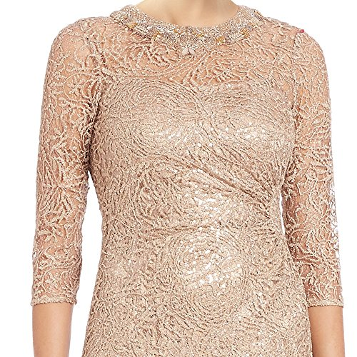 Teri Jon Bead Embellished 3/4 Sleeve Lace Evening Gown Dress