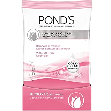 Ponds Luminous Clean Moisture Clean Towelettes With Cold Cream Technology 28 Each (Pack of 2)