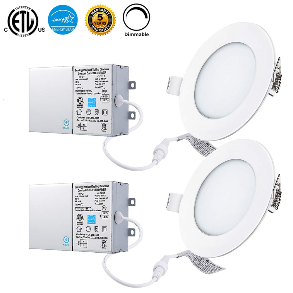 12W 6'' Dimmable LED Panel Lights with Junction Box, 5000K Cold White 960lm, ETL and Energy Star Certified Recessed Ceiling Lights, Pack of 2