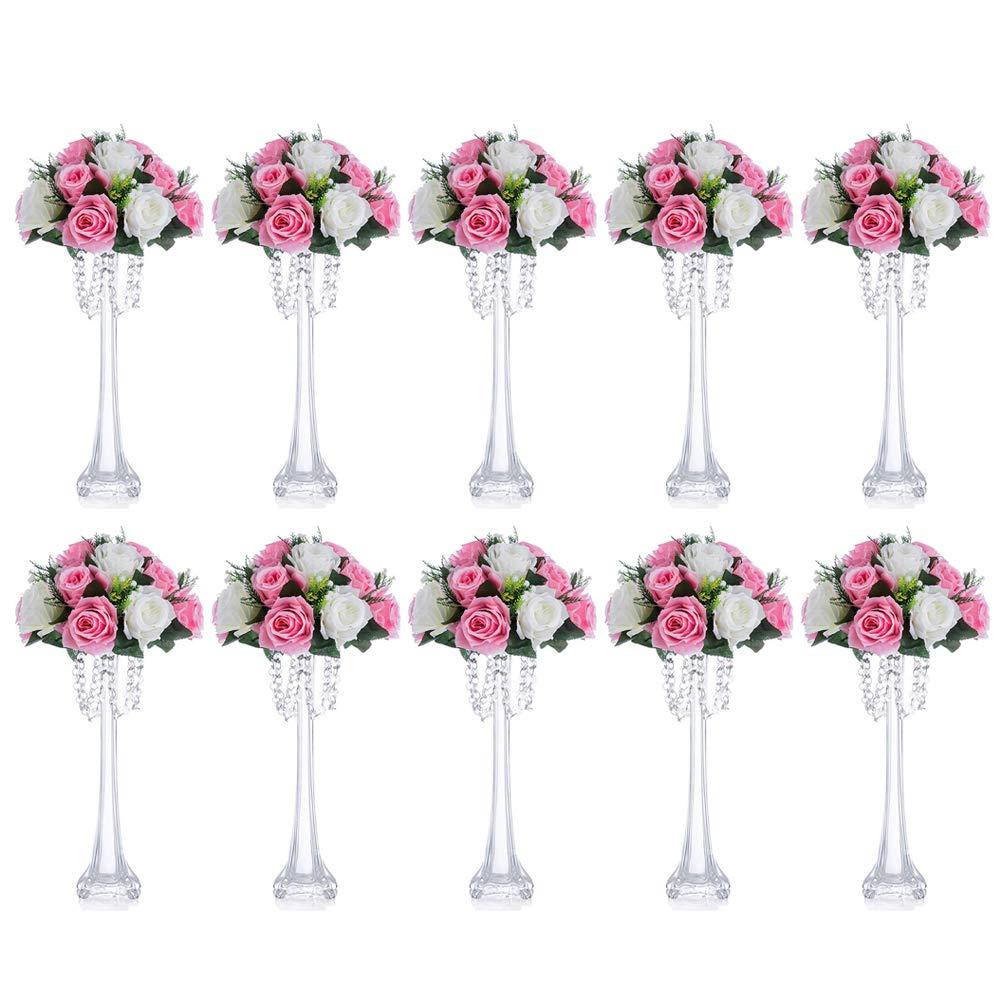 Nuptio 10 Pcs Tour Eiffel Vase//Pi/èce De Verre De Mariage 40cm Hauteur Slim Banquet D/écoration Vase /À Fleur