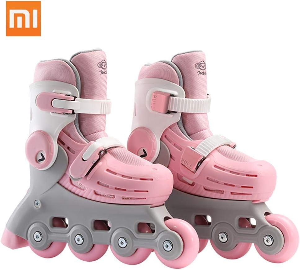Xiaomi 子供用 インラインスケート キッズ ローラースケート サイズ調整可能 初心者向け 通気性抜群 ローラーシューズ 700Kids 5-7歳の子供対応 ピンク