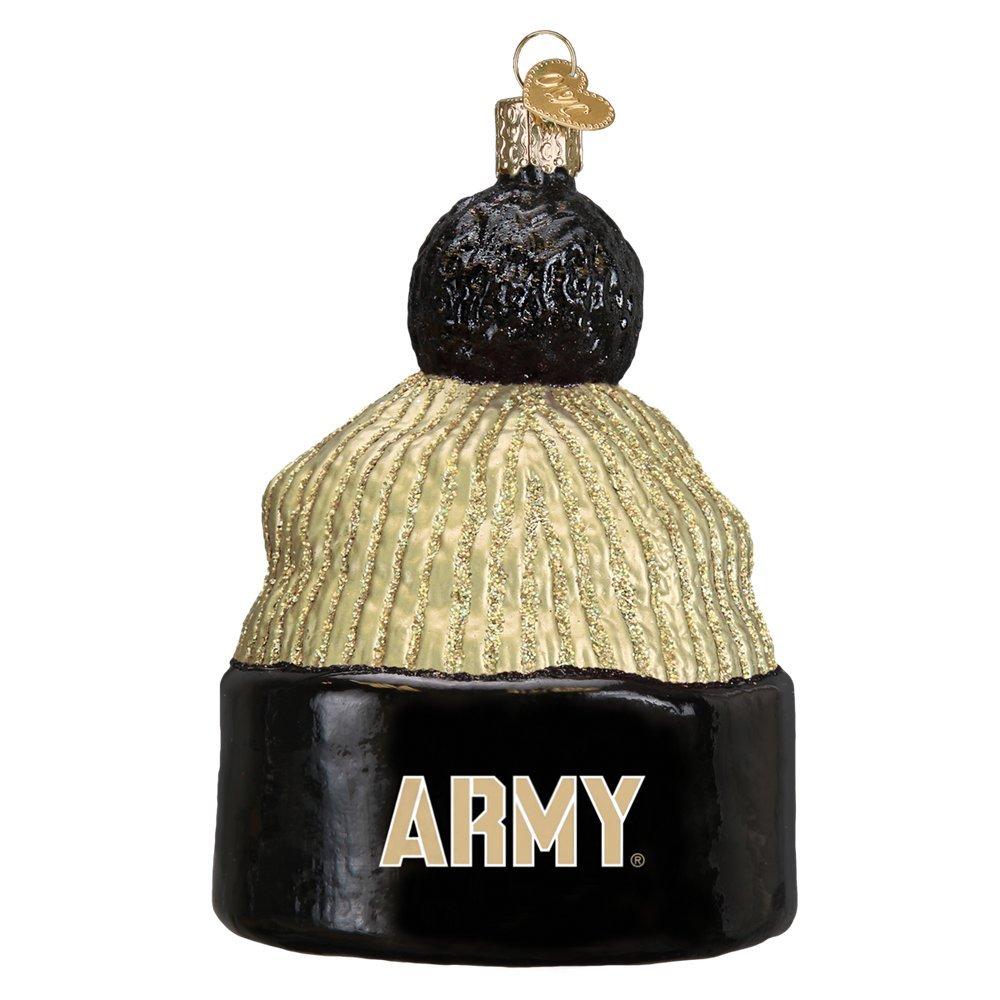 Army Beanie Glitter Glass Christmas Ornament