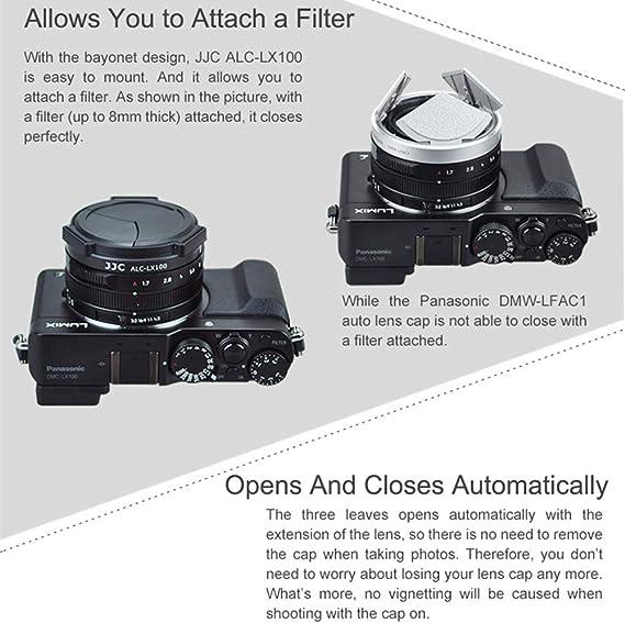 vhbw autom/ática Tapa para Objetivo Compatible con Panasonic Lumix DMC-LX3 DMC-LX4 c/ámara pl/ástico Negro