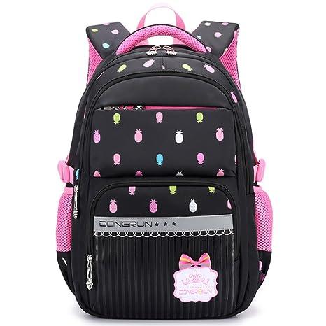 Uniuooi Primary School Bag Backpack for Girls 7-12 Years Old Waterproof  Nylon Teenage Satchel Laptop Bag 20-35L Pineapple Black  Amazon.co.uk   Luggage 6009e3e26f0d8