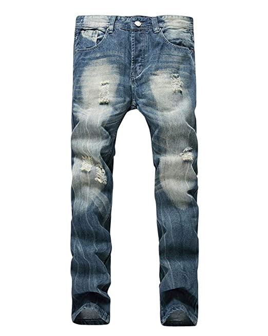 bdb42d2f8f Battercake Pantaloni Denim retrò da Denim Fit Uomo Slim Jeans ...