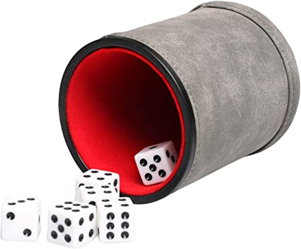 RERIVER Juego de Dados de Piel sintética con 6 Dados, Forro de Fieltro en el Interior silencioso para Jugar a los mentirosos, Dados y Juegos de Mesa: Amazon.es: Juguetes y juegos