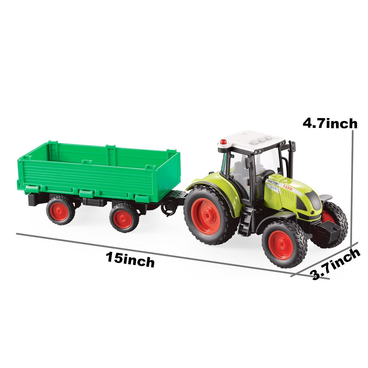 Fistone 1:16 Truck Inertia Farm Tractor Car with Bucket Trailer Modern Farm Machinery Car Toy Combination Simulation Farmer Tractor with Light and Music