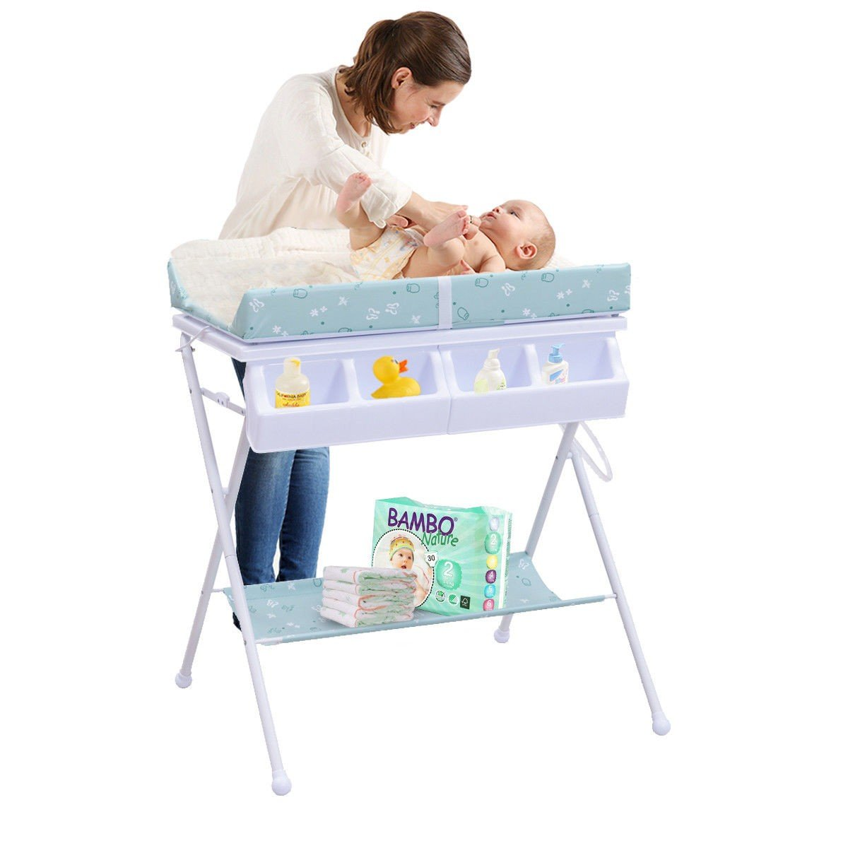 MD Group Baby Changing Table Foldable Steel Green Cushioned Infant Bath Diaper Storage