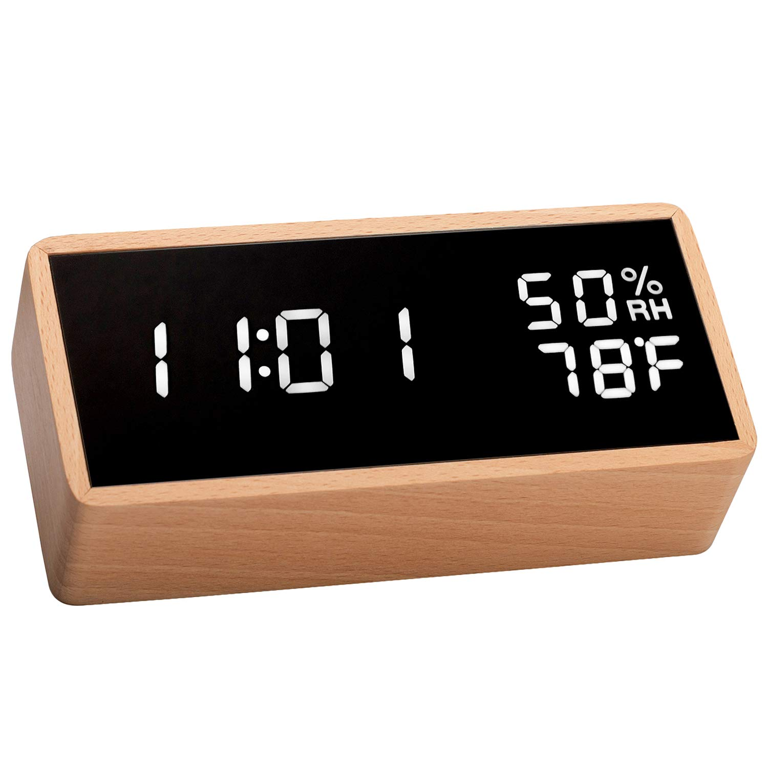 meross Digital Alarm Clock for Bedrooms, Real Wood, LED Display Desk Clock, Time Temperature Humidity, 3 Sets of Alarms, Adjustable Brightness, Sound ...