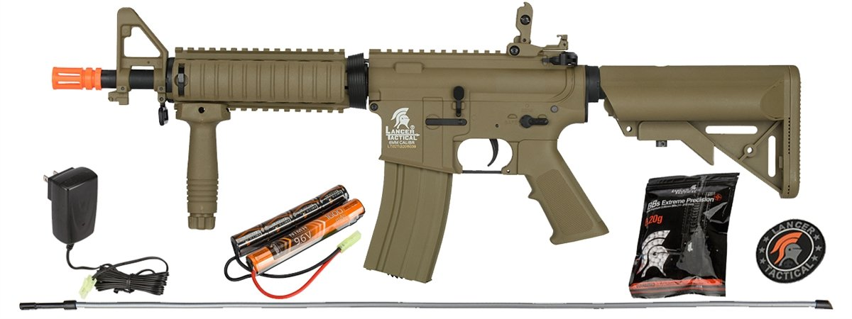 UKARMS Lancer Tactical MK18 MOD 0 AEG Field Metal Gears Airsoft Gun Rifle w 9.6v Battery & Charger (Tan High Velocity) by UKARMS
