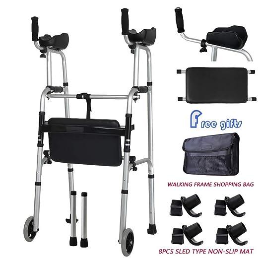 POEO Andador Plegable, Andador para Ancianos con 2 Ruedas, Asiento ...