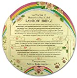 Rainbow Bridge Pet Memorial Stone - Beautiful Rainbow Bridge Poem on This Colorful Pet Memorial Garden Plaque - In Memory of Pet - Pet Sympathy Gift