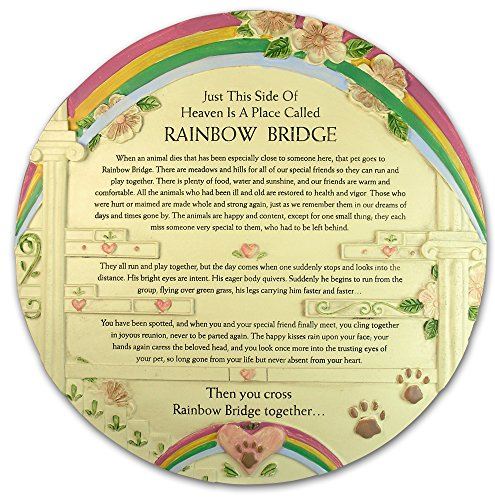BANBERRY DESIGNS Rainbow Bridge Pet Memorial Stone – Beautiful Rainbow Bridge Poem on This Colorful Pet Memorial Garden Plaque – In Memory of Pet – Pet Sympathy Gift