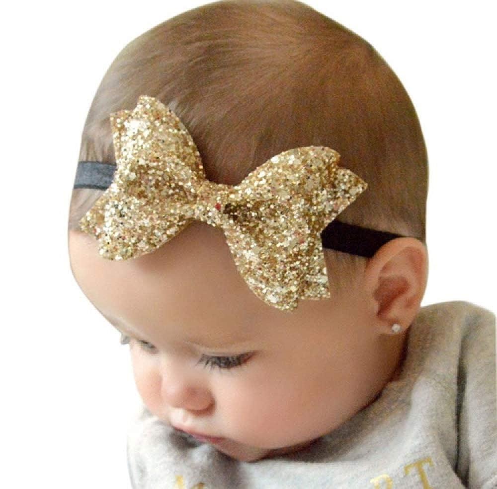 Ziory Golden Baby Girl Baby Boy Unisex Newborn Bow Knot Hair band Elastic  Bow Headband Kids Hair Accessories Headwear  Amazon.in  Jewellery bd134cada6a