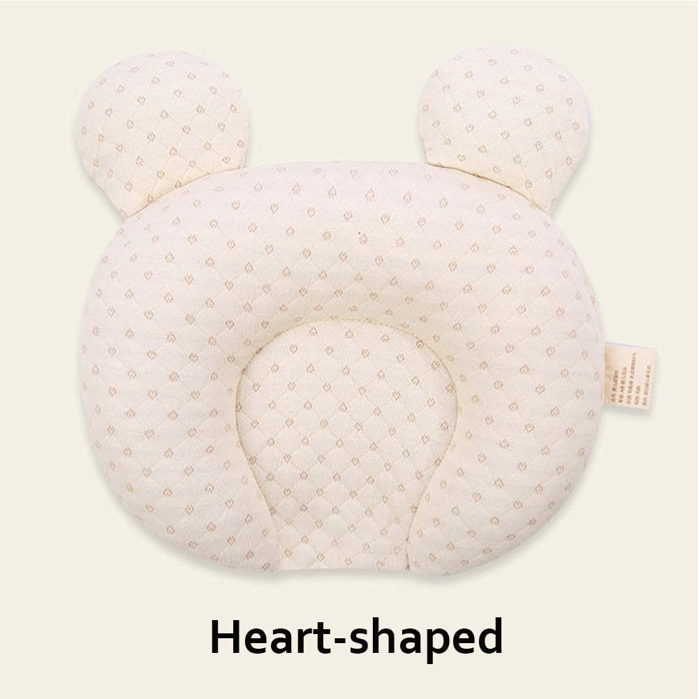 Heart-Shaped Newborn Baby Head Shaping Pillows Infant Protective Pillow Prevent Flat Head Anti Roll,Breathable Natural Latex,0-6 Months Baby Pillow with Washable Cotton Pillow Cover