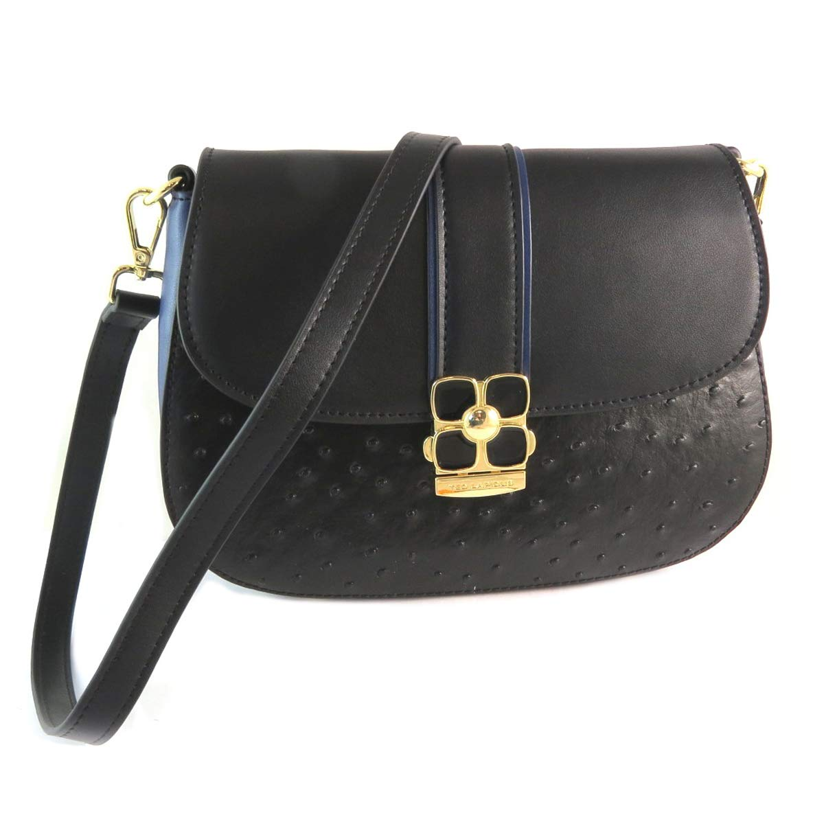 23036ee9ca0a Ted Lapidus [Q2195] - Leather Bag 'Ted lapidus' Black Blue - 26x20x8 ...