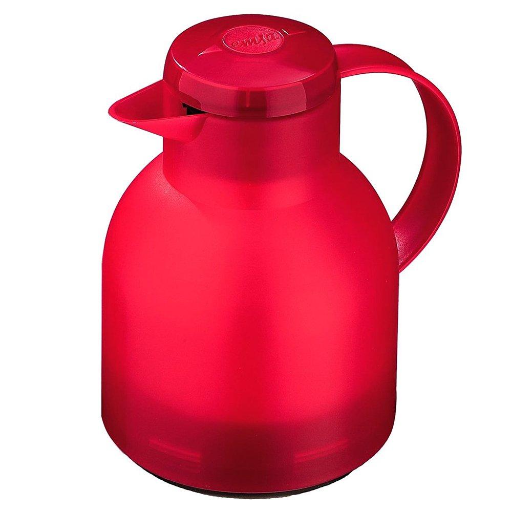 Emsa Samba Translucent Red 85034 Vacuum Insulated Thermal Carafe Quick Press 34 oz