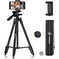 Lightweight Tripod 55-Inch, Camera Phone Tripod Stand with Bluetooth Remote, Phone Mount, Carrying Bag and Replacement…