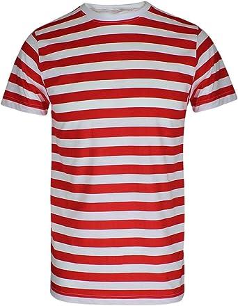 Camiseta de manga corta para niños, diseño de rayas rojas y blancas, de manga corta, color rojo y blanco: Amazon.es: Ropa y accesorios
