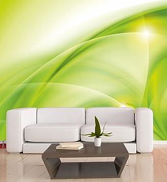 b45c892480b0 Vlies XXL-Poster Fototapete Tapete Muster Wellen in grün Material ...