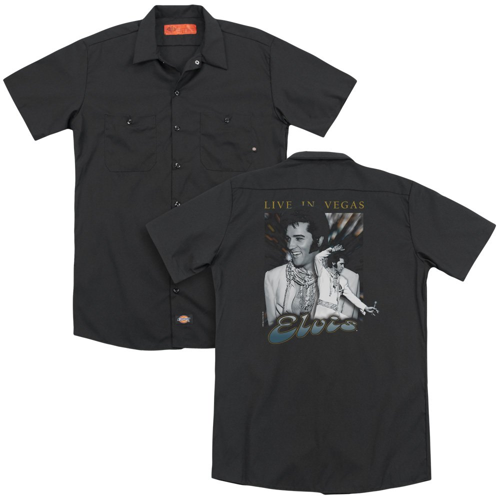 Elvis Live In Vegas Adult Work Shirt