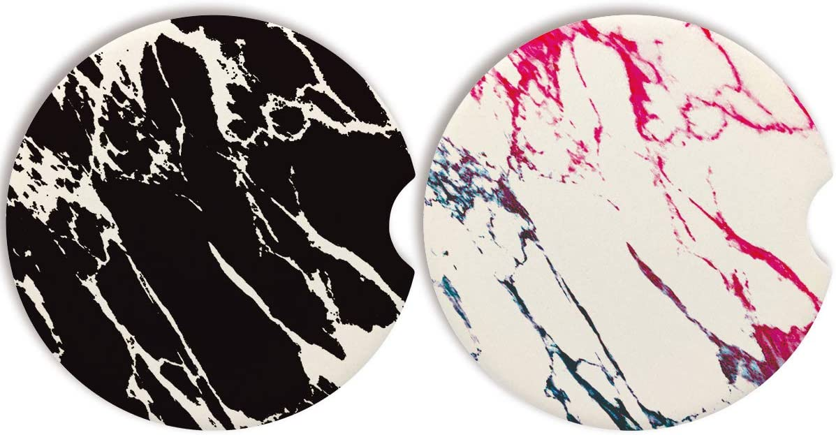 Car Coasters For Women-Set of 2 Pack,Absorbent Ceramic For Cup Holder With A Finger Notch for Easy Removal,Cute Car Accessories Keep Interior Dry And Clean Suitbale for Thanksgiving