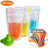 Acerich 100 Pcs Drink Pouches with Straws Stand-Up Hand-Held Translucent Reclosable Heat-Proof Plastic Zipper Juice Bags…