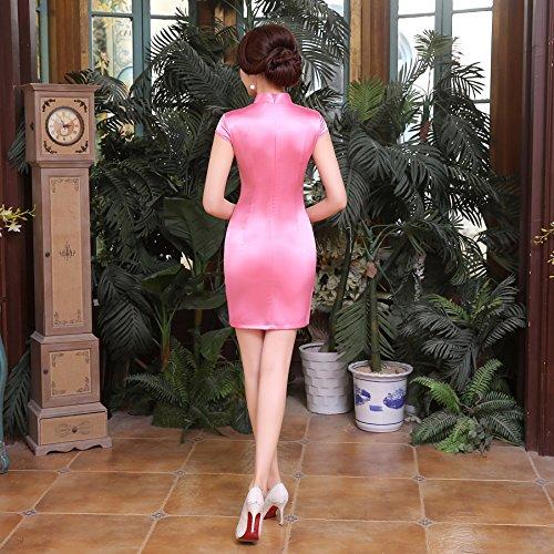 ACVIP Damen Kurzärmelige Cheongsam Qipao Etuikleid Chinesische Knöpfe Pink