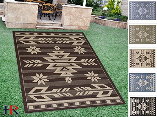 Cheap  Handcraft Rugs Indoor/Outdoor area Rug with Traditional Southwestern Design Beige and Chocolate..