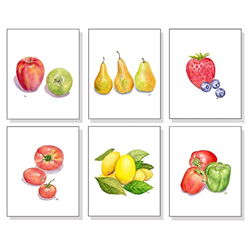 Fruit Art Vegetable Prints Set Of 6, Kitchen Wall Art Kitchen Decor, Apple  Pear