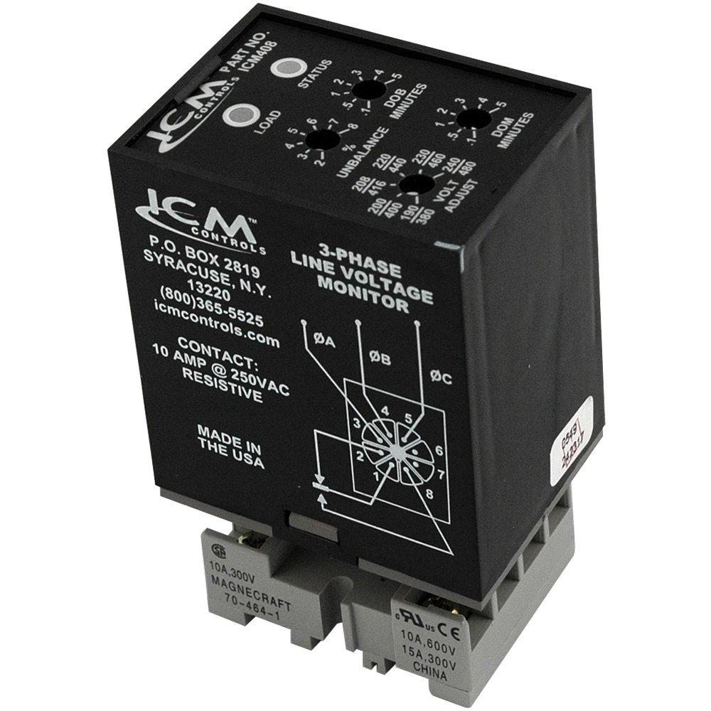 ICM Controls ICM408 3-Phase Monitor, Adjustable 190-480 VAC, Plug-In Style