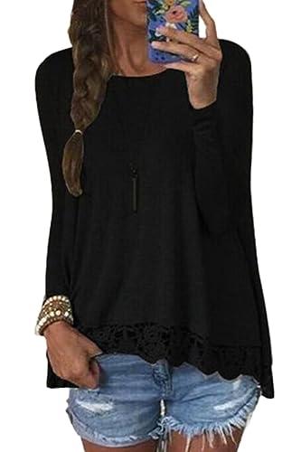 La Mujer Casual Long Sleeve Scoop Cuello Cortado Shirt Blusas Tops Tee